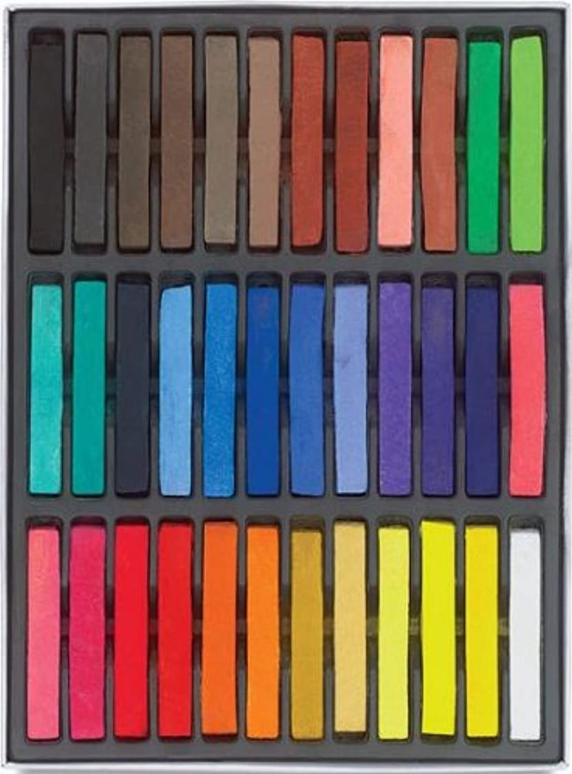 HAIRCHALKIN®36色の一時的なヘアチョークセット - 非毒性の虹色の染料パステルキット