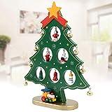 Happyyoo クリスマスツリー ミニ 木製 20㎝ 卓上 テーブル 14個オーナメント付き クリスマス飾り ツリー飾り ギフト プレゼント インテリア かわいい おしゃれ グリーン
