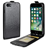 iPhone8ケース iPhone7 手帳型 レザーケース 縦開き 写真収納 カードホルダー 縦型 上下開きタイプ レザーケース スマホ カバー アイフォン8 スマホ ジャケット (iPhone7/8, ブラック)