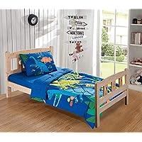 (Toddler Comforter) - Fancy Collection Toddler Comforter Set Dinosaur Navy Blue White Red Blue Orange Yellow Beige New