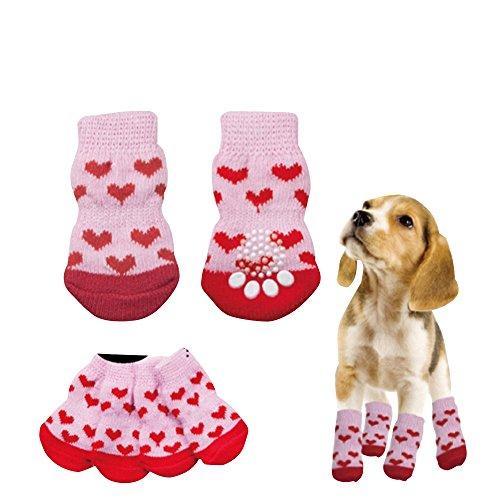 わんちゃん にゃんこ のおしゃれや足の保護に 滑り止め付き ソックス くつした 靴下 犬 猫 ペット 用 (ピンクハートM)