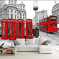 Lixiaoer カスタム壁画3D赤バス壁紙レストランホテルコーヒーハウス寝室リビングルームロビーテレビ壁紙壁画-350X250Cm