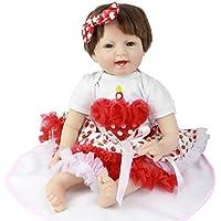 22インチSmiling Rebornベビー人形with布ボディソフトシリコン赤ちゃん人形for sale Cartoon Red Cherry Girlクリスマスギフトコレクション