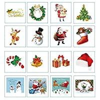 ARKprl Christmas Stickers Mess-Free Glitter Christmas Stickers - 16 Foam Stickers 8 Glitter Sheets ty Set of 16 [並行輸入品]