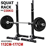 Yaheetech 2 x Adjustable Squat Rack Home Gym Weight Lifting Barbell Stand