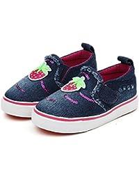 [XINXIKEJI]ベビー靴 女の子 男の子 ローファー マジック式 子供靴 ローカット スニーカー 14.0-16.5cm 赤ちゃん キッズ デッキシューズ 履きやすい 滑り止め 通気 軽い イチゴ柄 コンフォート...