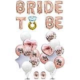 CheeseandU Bride to Be バルーン 16インチ ローズゴールド ブライダルシャワーデコレーション ダイヤモンドリング ラテックスバルーン8個 マットローズゴールド紙吹雪バルーン4個 星形ハート型ホイルバルーン4個 リボン2本 POU-0043