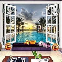 Xbwy カスタム3D壁画壁紙ルームウィンドウスイミングプール木研究室ソファ背景装飾-400X280Cm