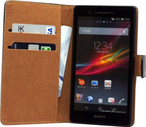 OKWEL 【ブラック】Xperia Z SO-02E 手帳型 マット レザー フルカバー ケース 2カード収納 スタンド機能付き