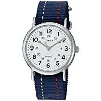 Timex Unisex TW2R107009J Weekender Blue Denim Red and White Stitching Slip-Thru Strap Watch