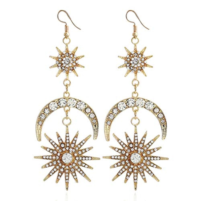 PINKING ロマンチック 月と太陽 ピアス アジアン スタイル の 美的 テクスチャ ファッション ジュエリー コーディネート レディース アクセサリー、ゴールド