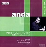 モーツァルト:ピアノ協奏曲第16番, 第17番/バルトーク:ピアノ協奏曲第2番(アンダ/イギリス室内管/BBC響/ブーレーズ)(1968-1975)