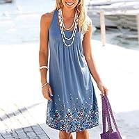 Onderroa - ノースリーブ花柄を印刷ルースドレスファッション六色カジュアルの女性のドレスローブファムエテ2018セクシーなドレスプラスサイズ[5XLブルー]