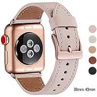 WFEAGL コンパチブル Apple Watch バンド,は本革レザーを使い、iWatch Series4/3/2/1、Sport、Edition向けのバンド交換ストラップです コンパチブル アップルウォッチ バンド (38mm 40mm, ピンクの砂 バンド+ゴールド 四角い バックル)
