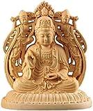 EBISSY 仏像 木彫り 観音菩薩 【 手彫り 柘植 ( ツゲ ) 彫刻 】観音像 置物 開運
