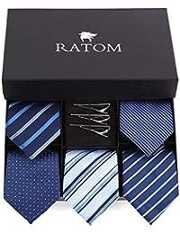 RATOM ネクタイピン ネクタイ セット【ネクタイ5本+ピン3本+ギフトボックス、洗濯OK】 (ブルー系)
