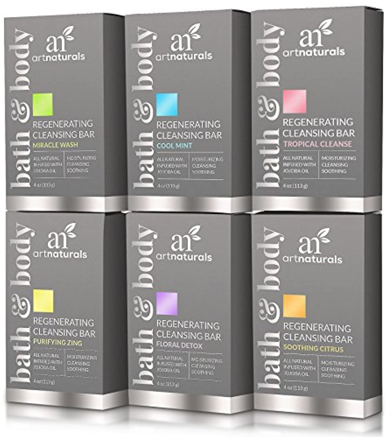 うねるアーチArtNaturals 6 Piece Soap Bar Set, 100% Natural and Infused with Jojoba Oil, Best for All Skin Types, Body and...