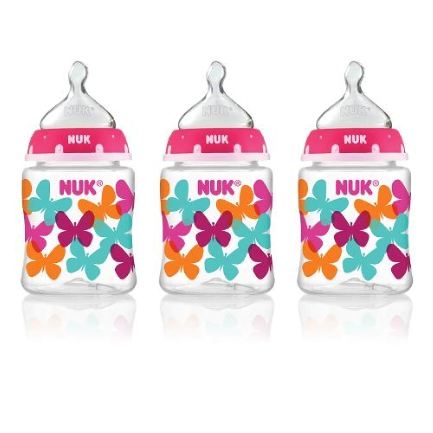 イルナチュラル仮説NUK Elephants and Butterflies Fashion Orthodontic Bottle in Assorted Patterns, 5-Ounce, 3 Count by NUK [並行輸入品]