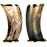 """Buddha4all Set of 2 Ceremonial 6"""" Viking Drinking Horn Mug ale Beer Wine Gift Cup – Authentic Medieval Inspired Vessel with F"""