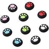 Doyeemei かわいい猫の爪ロッカーキャップ、[PS3 / PS4 / PS5 / Xbox 360 / Xbox One 対応], 親指グリップキャップ, ジョイスティック カバー, (5色/10個セット)肉球 コントローラージョイスティック