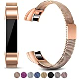 AWINNER Bands for Fitbit Alta HR and Alta , Replacement Milanese Loop Stainless Steel Metal Band (Rose Gold)