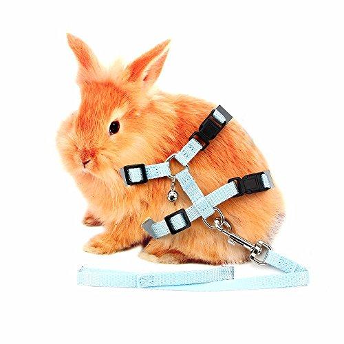 QZSKY 小動物用うさちゃんラクラクのハーネス&リードセット 取り付けカンタン おペットちゃんにやさしい素材 ウサギお散歩  (ブルー)