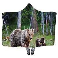 女性ヒグマと彼女のカブスウェアラブル毛布、大人女性メンズキッズウェアラブル毛布、136741,60 ' ' W X 40 ' ' H 150X200