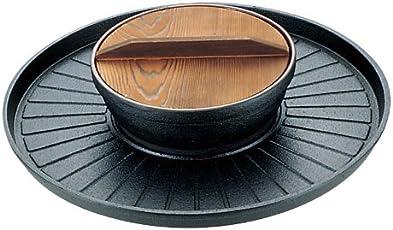 三和精機製作所 焼きしゃぶ鍋 B-35 鉄鋳物 天然木 日本 QSY51