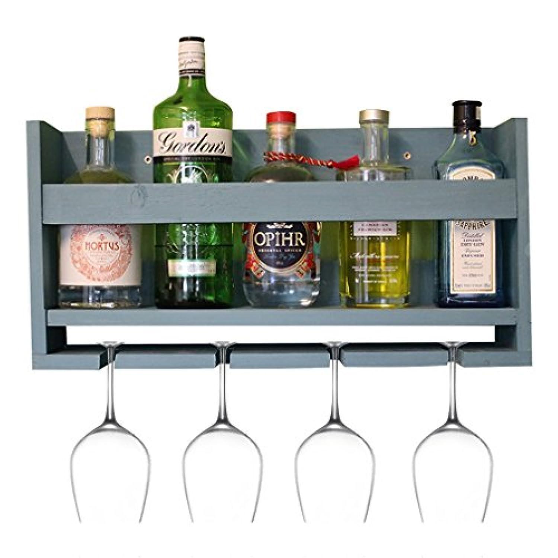 ワインラックウッドウォールマウントワインキャビネットワインボトルホルダーフローティングシェルフリビングルームの壁の装飾レストランのキッチン(サイズ:53 * 10 * 22センチメートル)