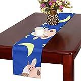 GGSXD テーブルランナー すばしこい 牛 クロス 食卓カバー 麻綿製 欧米 おしゃれ 16 Inch X 72 Inch (40cm X 182cm) キッチン ダイニング ホーム デコレーション モダン リビング 洗える