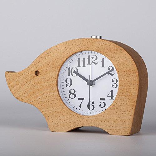 ECVISION 天然木製置き時計 多機能目覚まし時計 アラームクロック 象の形時計 ハンドメイド アラーム 静かなスイープセコンド 木目調