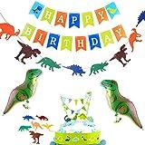 誕生日 飾り付け 恐竜 男の子 子供 面白い 動物 happy birthday バナー ガーランド ウォーキング バルーン 風船 ケーキトッパー 11枚セット
