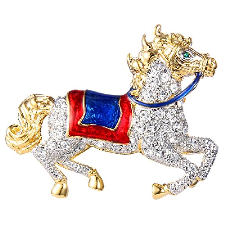 [エバーフェイス] EVER FAITH 走ってる馬 クリア ブローチ クリスタル エナメル 合金 ゴールドトーン [インポート]