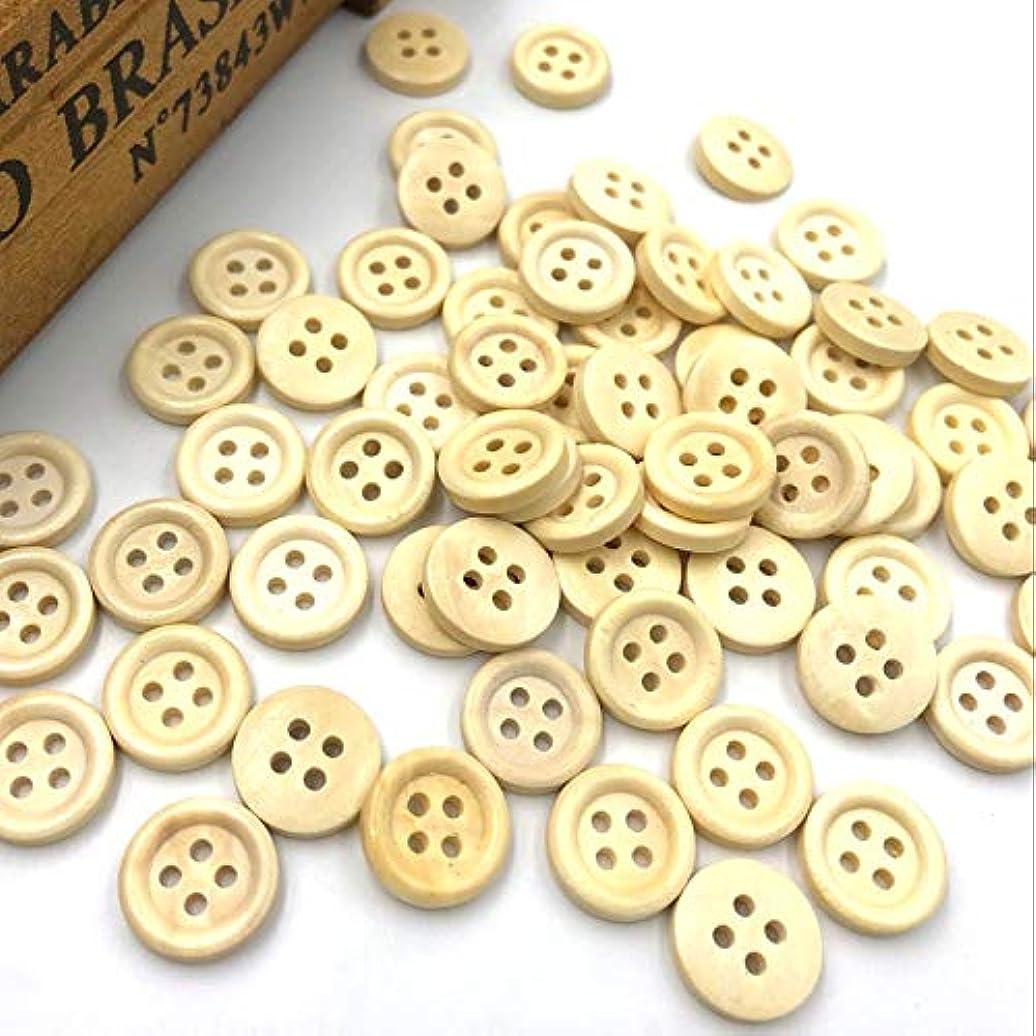 メンテナンス保険フェロー諸島Jicorzo - 4つの穴子供の縫製ウッドボタン15ミリメートル縫製クラフトミックスロット[50個]