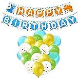 WERNNSAI 恐竜 誕生日デコレーション - 男の子 子供 誕生日 恐竜がテーマのパーティー用品 バナー付き ブルー グリーン ゴールド 紙吹雪 ラテックスバルーン リボン 23ピース