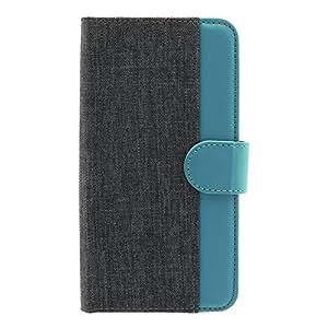 オウルテック マルチケース 5.2インチまでのスマートフォン対応 キャンバス × レザーデザイン 手帳型 THE ブラック × ターコイズブルー OWL-CVMUM11-BKTB