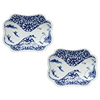 波佐見焼 山水蛸唐草 角皿(小)2個セット 9cm 高山陶器 tya0129