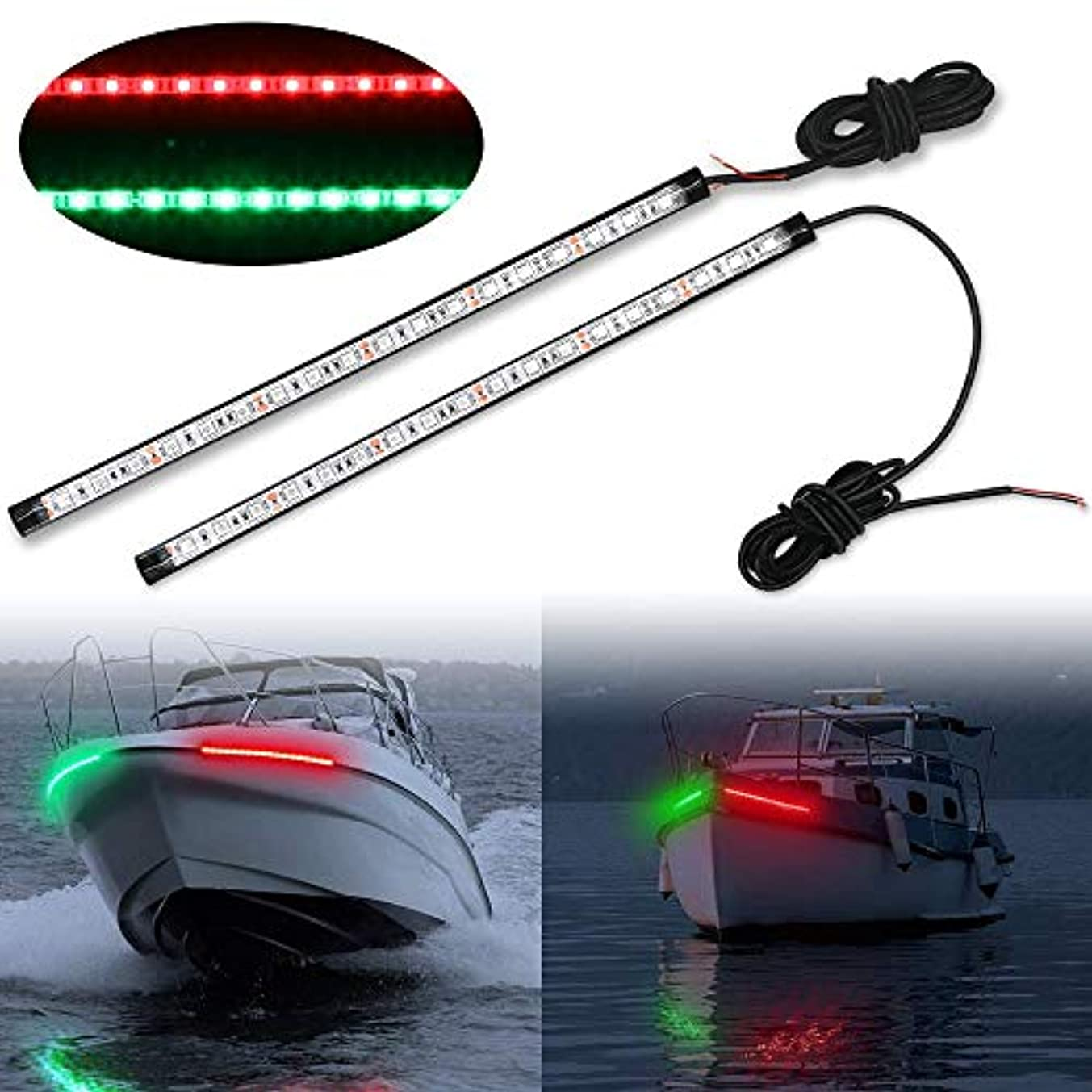 モットー好み神経Obcursco 12インチ LEDボートボウナビゲーションライトキット 船舶ボート船舶ポンツーンヨットスキーター用 1ペア レッド&グリーン