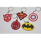 Fungshop Marvel バットマンスパイダーマンスーパーマンキャプテンキャプテンアメリカンキーホルダーフィギュアおもちゃ 5 個