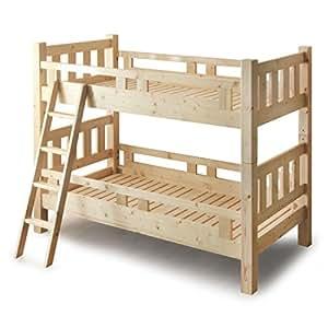 タンスのゲン 二段ベッド 子供 大人も使える二段ベッド エコ塗装 ドデカ90ミリ角柱 2段ベッド ベルヘン ナチュラル 65190021 00