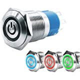 WerFamily Tri-color LED 16mm Momentary Push Button Switch 1NO 1NC SPDT ON/OFF Waterproof Metal Round (Power Indicator, Red Bl