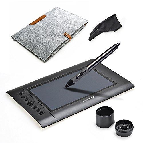 HUIONH610 USB 10x6.25インチ グラフィックス描画タブレット デジタルタブレット ペンタベレット スタイラスペン+15インチウールライナーバッグ+2指グローブ+USBケーブル+4交換用ペン先など付き お描きタブレット組み合わ せセット