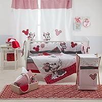 [ Disney Red Minnieマウス]ベビーベッド寝具セット 4PC+1xHAMPER レッド DAME-7297219037603-4PC+1xHAMPER
