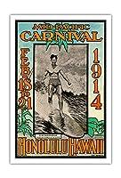 1914ミッドパシフィック・カーニバル - ホノルルハワイ - 特長デューク・カハナモク、世界のチャンピオンのスイマー - ビンテージなカーニバルのポスター によって作成された ルー・ヘンダーソン, ネッド・スティール c.1914 - アートポスター - 76cm x 112cm