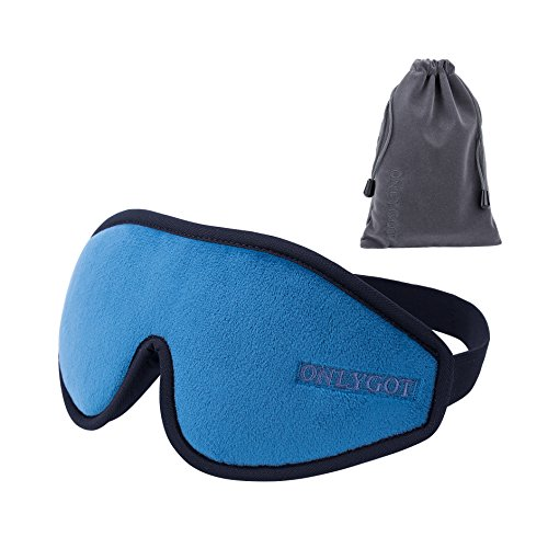 Onlygot アイマスク 安眠 遮光 睡眠 旅行 立体型 低反発 圧迫感なし 軽量 柔らかい 疲労回復 昼寝に最適 (ブルー)