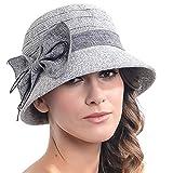 レディース パーティードレス レディースContton &リネンスレッドCloche Hat with Bow US サイズ: M カラー: グレー