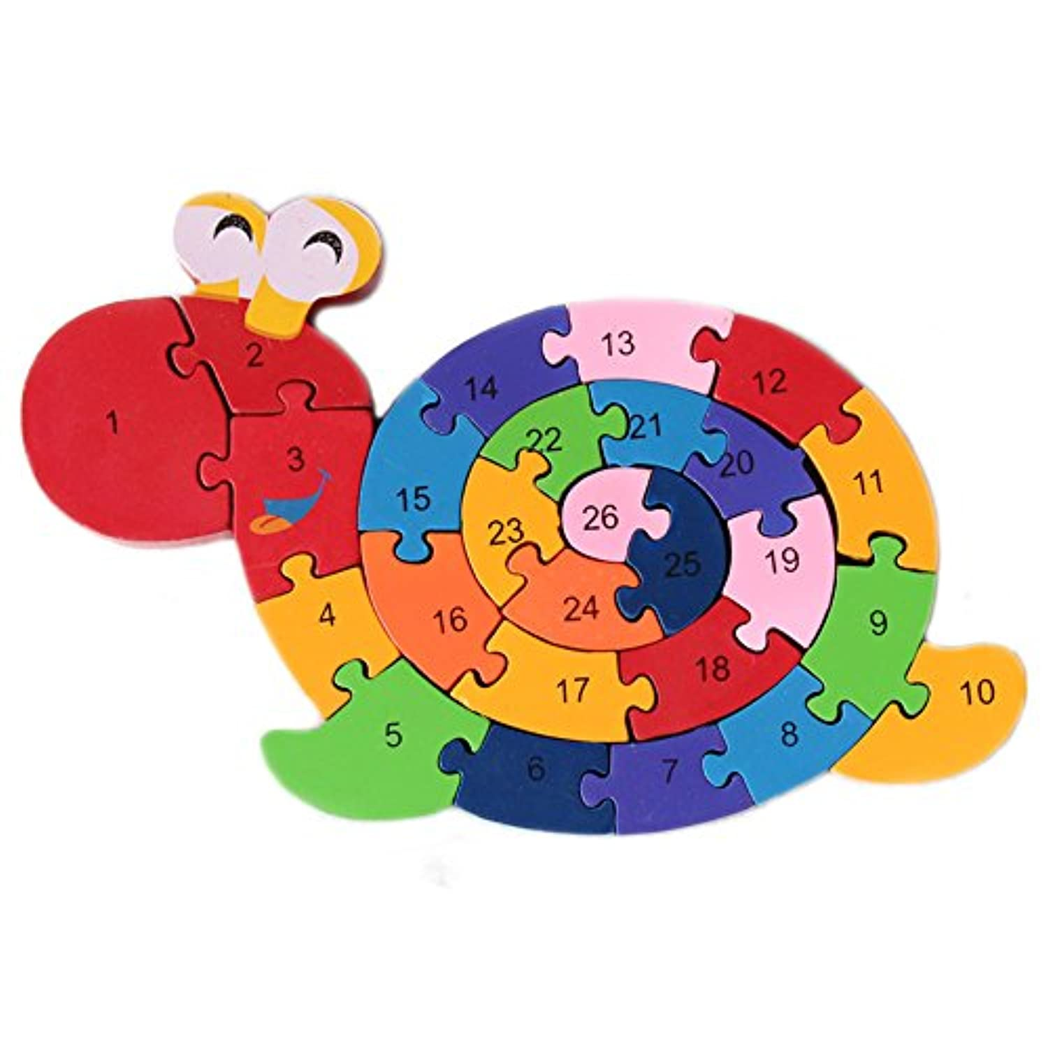 Extpro Wooden Snail Sorter Puzzles Letter Numbers Building Educational Toy Double Sides Jigsaw Puzzle for Kids Children