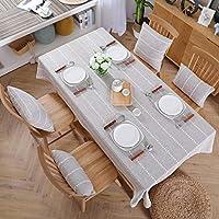長方形のテーブルクロス、プレーンコットン、リネン材防水としわ防止キッチンコーヒーテーブルレストランの装飾に適して (色 : D, サイズ さいず : 51.3''*86.6'')