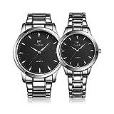 カップル腕時計,Karchi 時計 超薄型 軽い ステンレススチールバンド ウォッチ メンズ レディース ウォッチ 腕時計 恋人 記念日 バレンタインデー 誕生日プレゼント 2本セット (ブラック+ブラック)