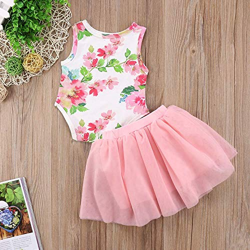 LH Little Girls Letter Flower Clothing Sets Summer Top and Skirt Kids 2pcs Outfits, 100cm